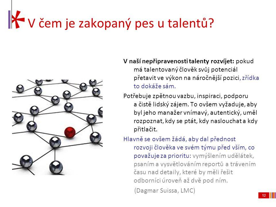12 V čem je zakopaný pes u talentů? V naší nepřipravenosti talenty rozvíjet: pokud má talentovaný člověk svůj potenciál přetavit ve výkon na náročnějš