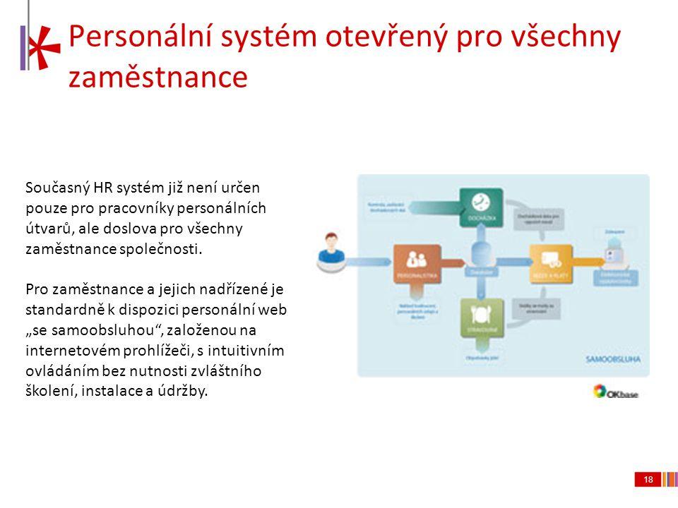 18 Personální systém otevřený pro všechny zaměstnance Současný HR systém již není určen pouze pro pracovníky personálních útvarů, ale doslova pro všec