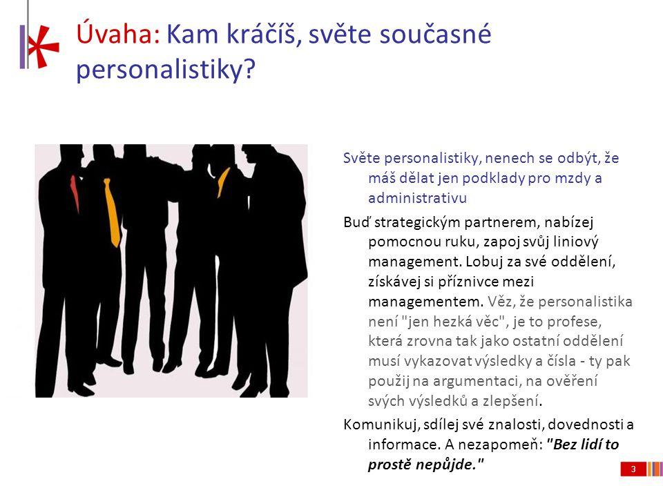 3 Úvaha: Kam kráčíš, světe současné personalistiky? Světe personalistiky, nenech se odbýt, že máš dělat jen podklady pro mzdy a administrativu Buď str