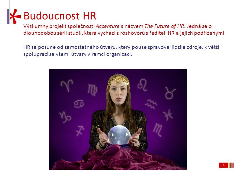 4 Budoucnost HR Výzkumný projekt společnosti Accenture s názvem The Future of HR. Jedná se o dlouhodobou sérii studií, která vychází z rozhovorů s řed