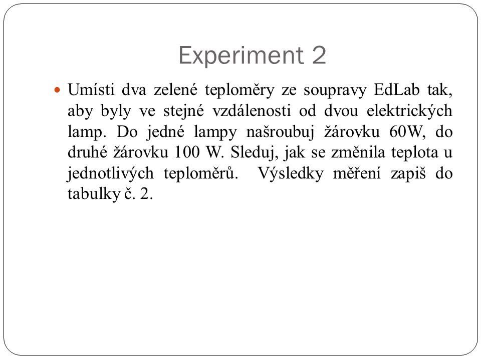 Experiment 2  Umísti dva zelené teploměry ze soupravy EdLab tak, aby byly ve stejné vzdálenosti od dvou elektrických lamp. Do jedné lampy našroubuj ž