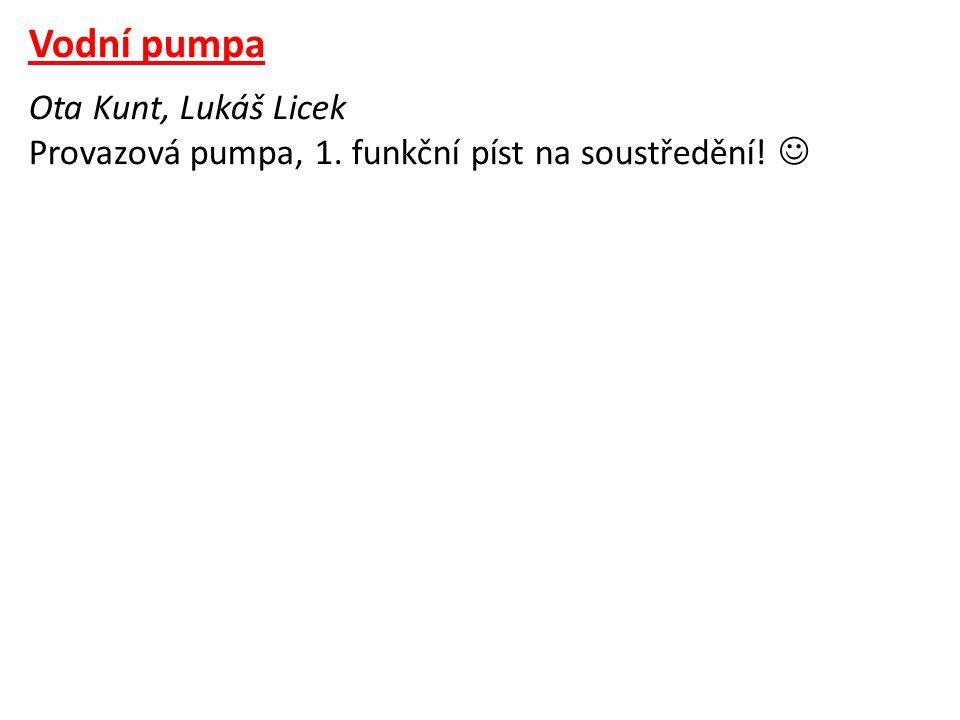 Vodní pumpa Ota Kunt, Lukáš Licek Provazová pumpa, 1. funkční píst na soustředění! 