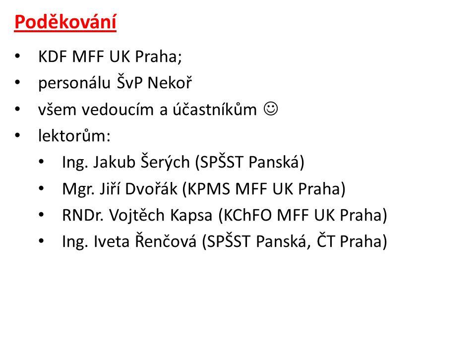 Poděkování • KDF MFF UK Praha; • personálu ŠvP Nekoř • všem vedoucím a účastníkům  • lektorům: • Ing.