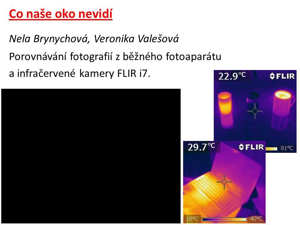 Co naše oko nevidí Nela Brynychová, Veronika Valešová Porovnávání fotografií z běžného fotoaparátu a infračervené kamery FLIR i7.