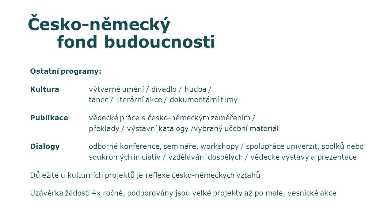 Ostatní programy: Kultura výtvarné umění / divadlo / hudba / tanec / literární akce / dokumentární filmy Publikace vědecké práce s česko-německým zaměřením / překlady / výstavní katalogy /vybraný učební materiál Dialogyodborné konference, semináře, workshopy / spolupráce univerzit, spolků nebo soukromých iniciativ / vzdělávání dospělých / vědecké výstavy a prezentace Důležité u kulturních projektů je reflexe česko-německých vztahů Uzávěrka žádostí 4x ročně, podporovány jsou velké projekty až po malé, vesnické akce Česko-německý fond budoucnosti