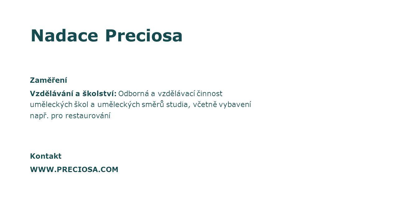 Nadace Preciosa Zaměření Vzdělávání a školství: Odborná a vzdělávací činnost uměleckých škol a uměleckých směrů studia, včetně vybavení např.