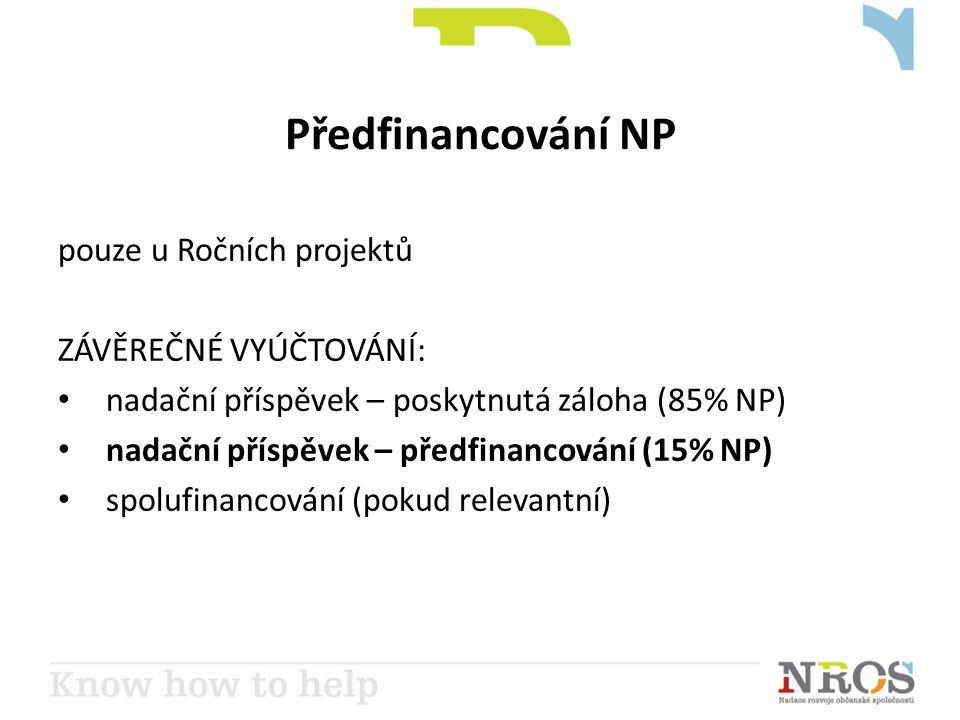 Předfinancování NP pouze u Ročních projektů ZÁVĚREČNÉ VYÚČTOVÁNÍ: • nadační příspěvek – poskytnutá záloha (85% NP) • nadační příspěvek – předfinancování (15% NP) • spolufinancování (pokud relevantní)