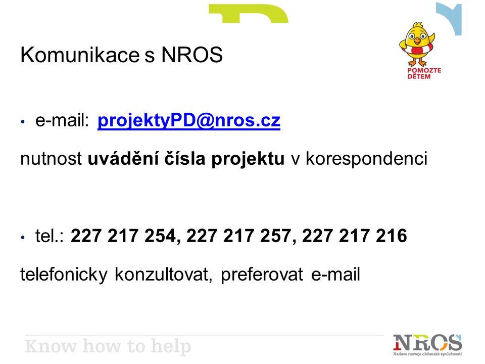 Komunikace s NROS • e-mail: projektyPD@nros.czprojektyPD@nros.cz nutnost uvádění čísla projektu v korespondenci • tel.: 227 217 254, 227 217 257, 227 217 216 telefonicky konzultovat, preferovat e-mail