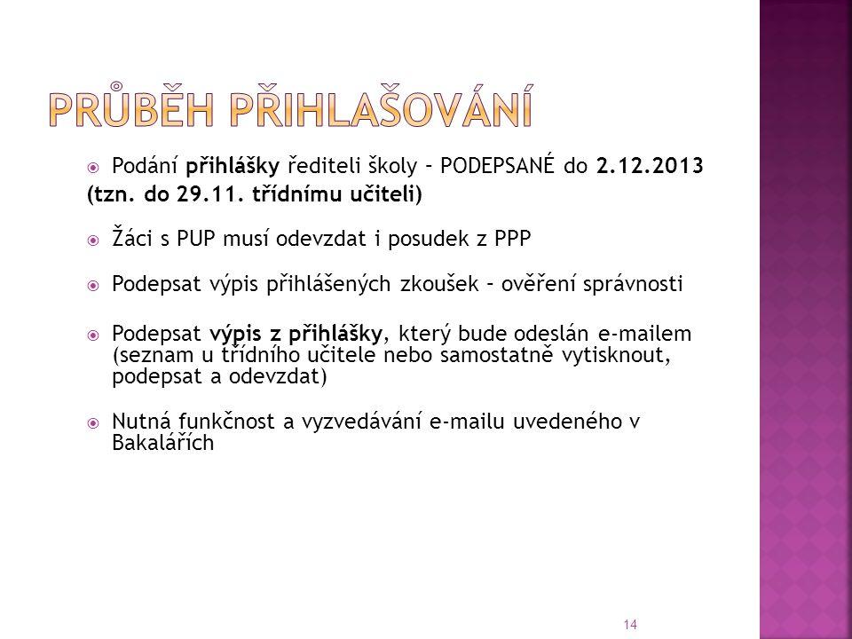  Podání přihlášky řediteli školy – PODEPSANÉ do 2.12.2013 (tzn. do 29.11. třídnímu učiteli)  Žáci s PUP musí odevzdat i posudek z PPP  Podepsat výp