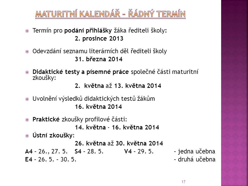  Termín pro podání přihlášky žáka řediteli školy: 2. prosince 2013  Odevzdání seznamu literárních děl řediteli školy 31. března 2014  Didaktické te