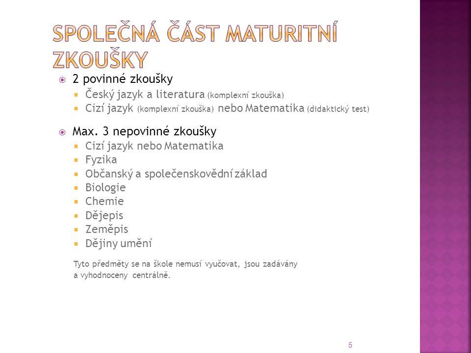  2 povinné zkoušky  Český jazyk a literatura (komplexní zkouška)  Cizí jazyk (komplexní zkouška) nebo Matematika (didaktický test)  Max. 3 nepovin
