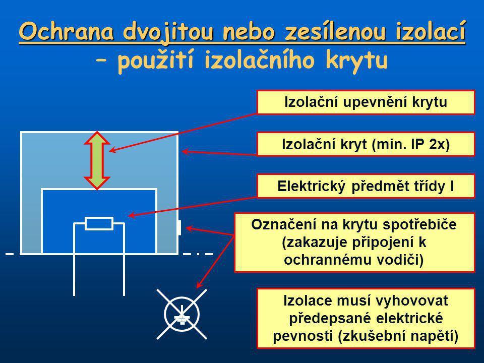 Ochrana dvojitou nebo zesílenou izolací Ochrana dvojitou nebo zesílenou izolací – použití izolačního krytu Elektrický předmět třídy I Izolační kryt (min.