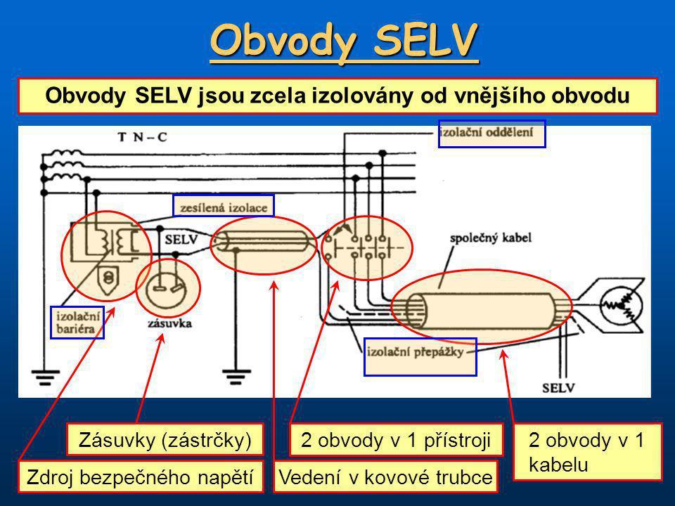 Obvody SELV Obvody SELV jsou zcela izolovány od vnějšího obvodu Zdroj bezpečného napětí Zásuvky (zástrčky) Vedení v kovové trubce 2 obvody v 1 přístroji 2 obvody v 1 kabelu