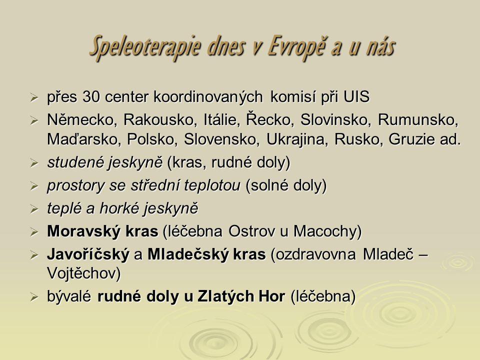 Speleoterapie dnes v Evropě a u nás  přes 30 center koordinovaných komisí při UIS  Německo, Rakousko, Itálie, Řecko, Slovinsko, Rumunsko, Maďarsko,