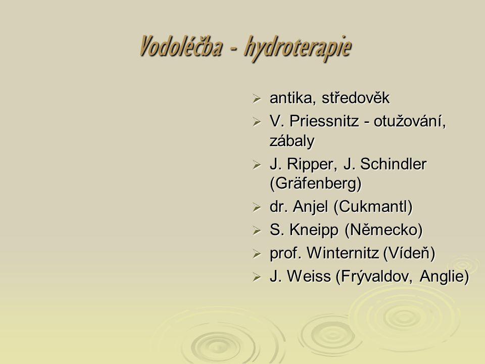 Vodoléčba - hydroterapie  antika, středověk  V. Priessnitz - otužování, zábaly  J. Ripper, J. Schindler (Gräfenberg)  dr. Anjel (Cukmantl)  S. Kn