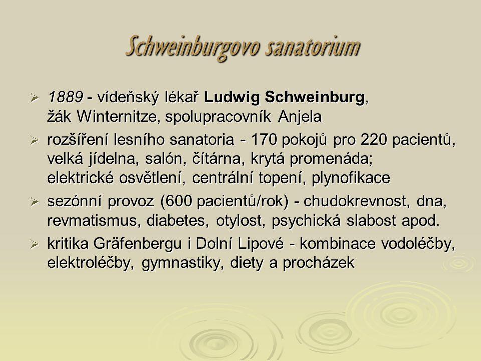 Schweinburgovo sanatorium  1889 - vídeňský lékař Ludwig Schweinburg, žák Winternitze, spolupracovník Anjela  rozšíření lesního sanatoria - 170 pokoj
