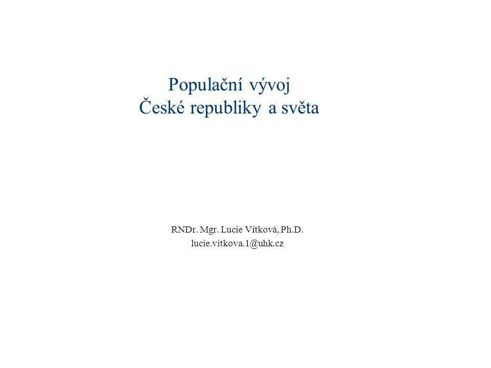 Populační vývoj České republiky a světa RNDr. Mgr. Lucie Vítková, Ph.D. lucie.vitkova.1@uhk.cz