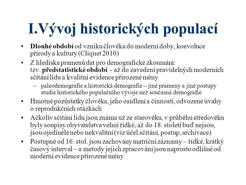 I.Vývoj historických populací •Dlouhé období od vzniku člověka do moderní doby, koevoluce přírody a kultury (Cliquet 2010) •Z hlediska pramenů dat pro