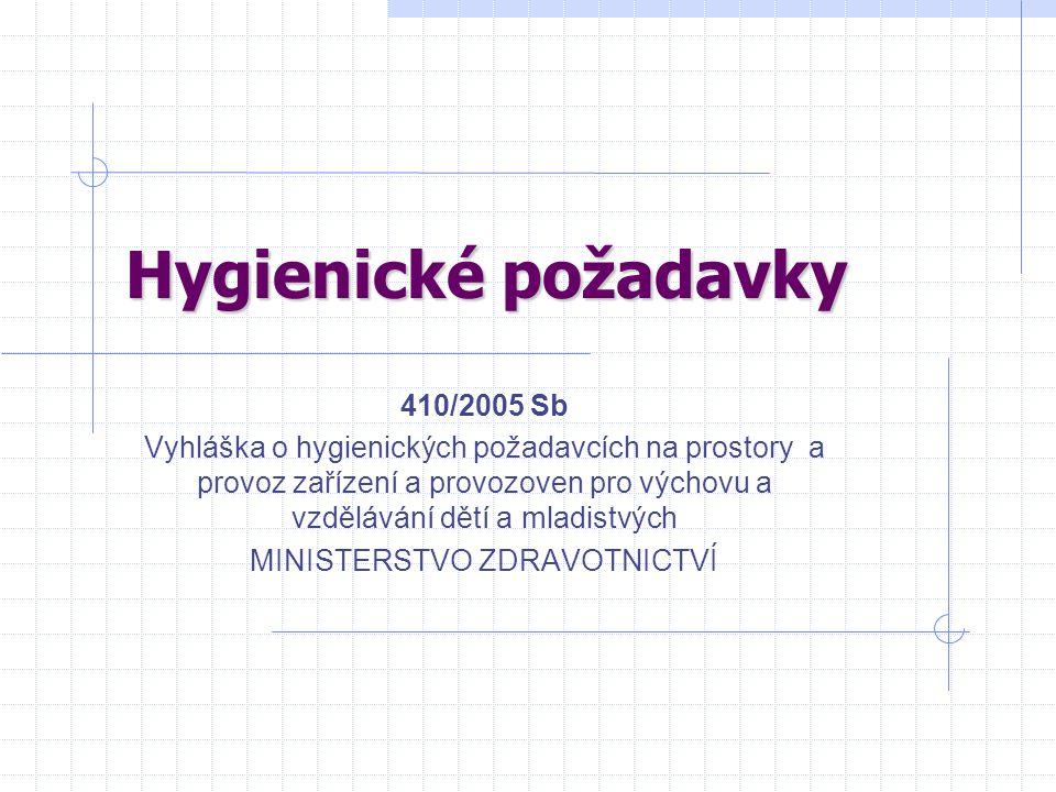 Hygienické požadavky 410/2005 Sb Vyhláška o hygienických požadavcích na prostory a provoz zařízení a provozoven pro výchovu a vzdělávání dětí a mladis