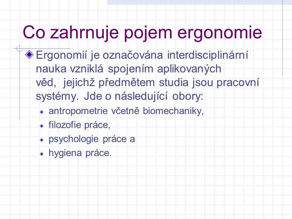 Co zahrnuje pojem ergonomie Ergonomií je označována interdisciplinární nauka vzniklá spojením aplikovaných věd, jejichž předmětem studia jsou pracovní