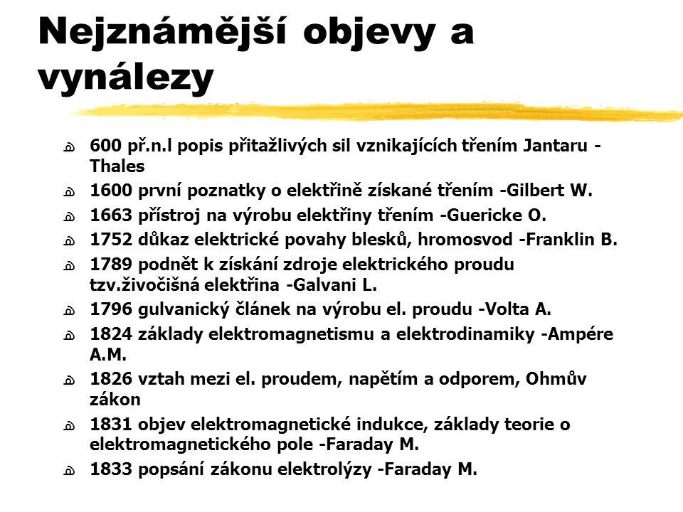 Nejznámější objevy a vynálezy ﻫ600 př.n.l popis přitažlivých sil vznikajících třením Jantaru - Thales ﻫ1600 první poznatky o elektřině získané třením