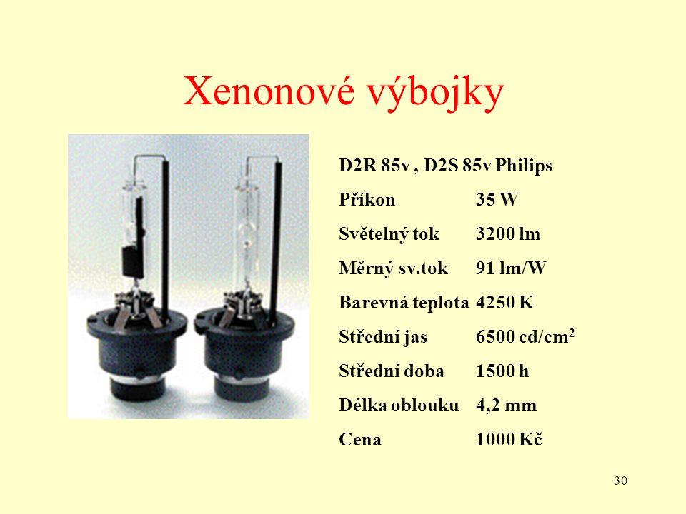 30 Xenonové výbojky D2R 85v, D2S 85v Philips Příkon35 W Světelný tok3200 lm Měrný sv.tok91 lm/W Barevná teplota4250 K Střední jas6500 cd/cm 2 Střední doba1500 h Délka oblouku4,2 mm Cena1000 Kč