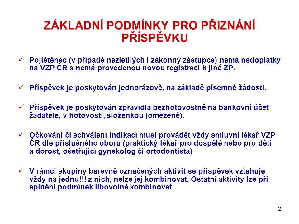 2 ZÁKLADNÍ PODMÍNKY PRO PŘIZNÁNÍ PŘÍSPĚVKU  Pojištěnec (v případě nezletilých i zákonný zástupce) nemá nedoplatky na VZP ČR s nemá provedenou novou r