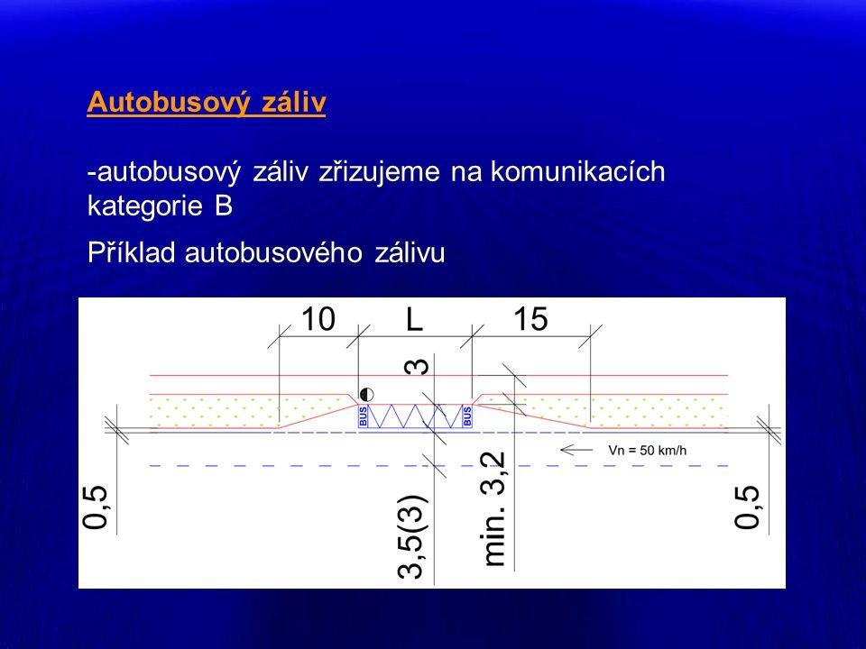 Autobusový záliv -autobusový záliv zřizujeme na komunikacích kategorie B Příklad autobusového zálivu
