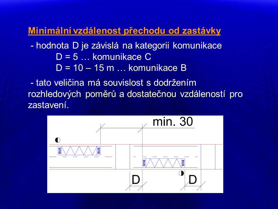 Minimální vzdálenost přechodu od zastávky - hodnota D je závislá na kategorii komunikace D = 5 … komunikace C D = 10 – 15 m … komunikace B - tato veli