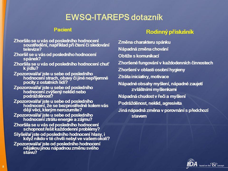 8 EWSQ-ITAREPS dotazník Pacient Zhoršilo se u vás od posledního hodnocení soustředění, například při čtení či sledování televize.