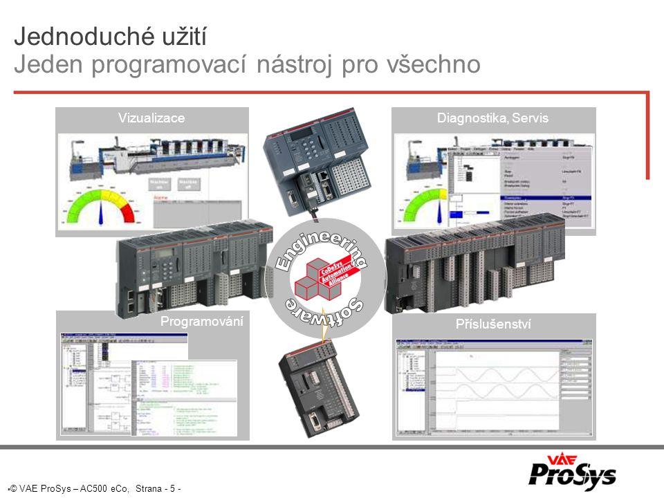  © VAE ProSys – AC500 eCo, Strana - 5 - Jednoduché užití Jeden programovací nástroj pro všechno Diagnostika, Servis Automation ProgramováníPříslušenstvíVizualizace
