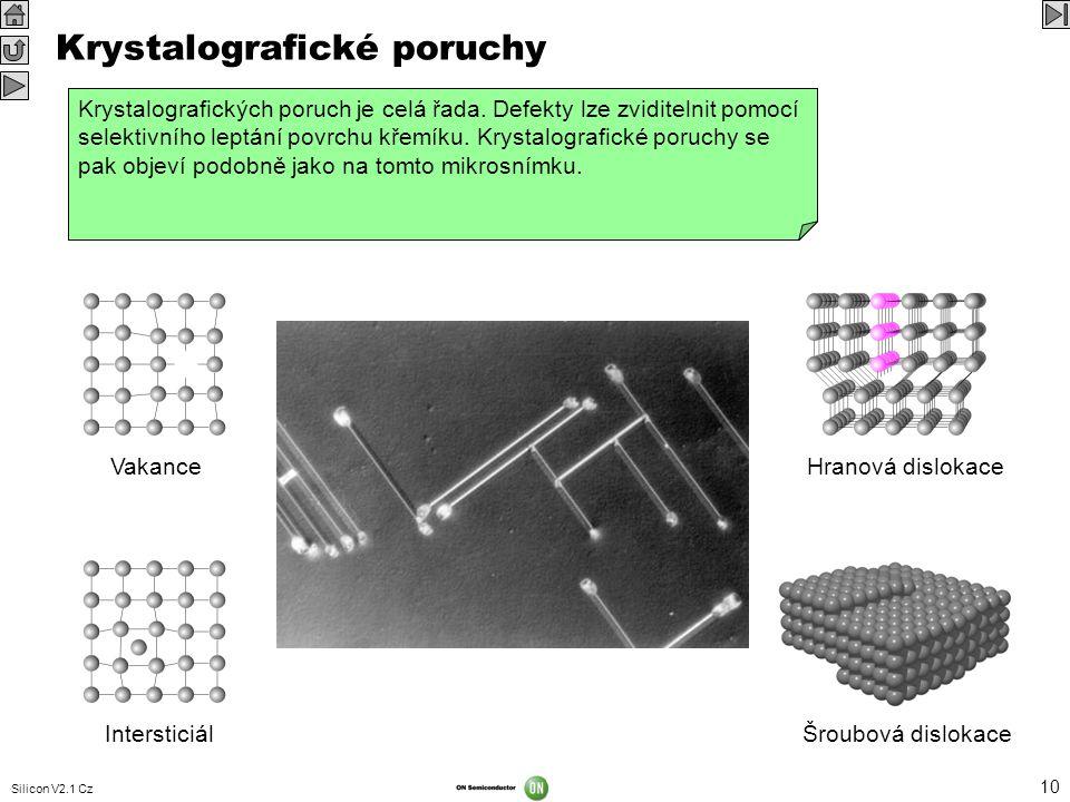 Silicon V2.1 Cz 10 Krystalografické poruchy Jakákoliv nedokonalost ve struktuře krystalu je považována za poruchu - defekt. Porucha může ovlivnit elek