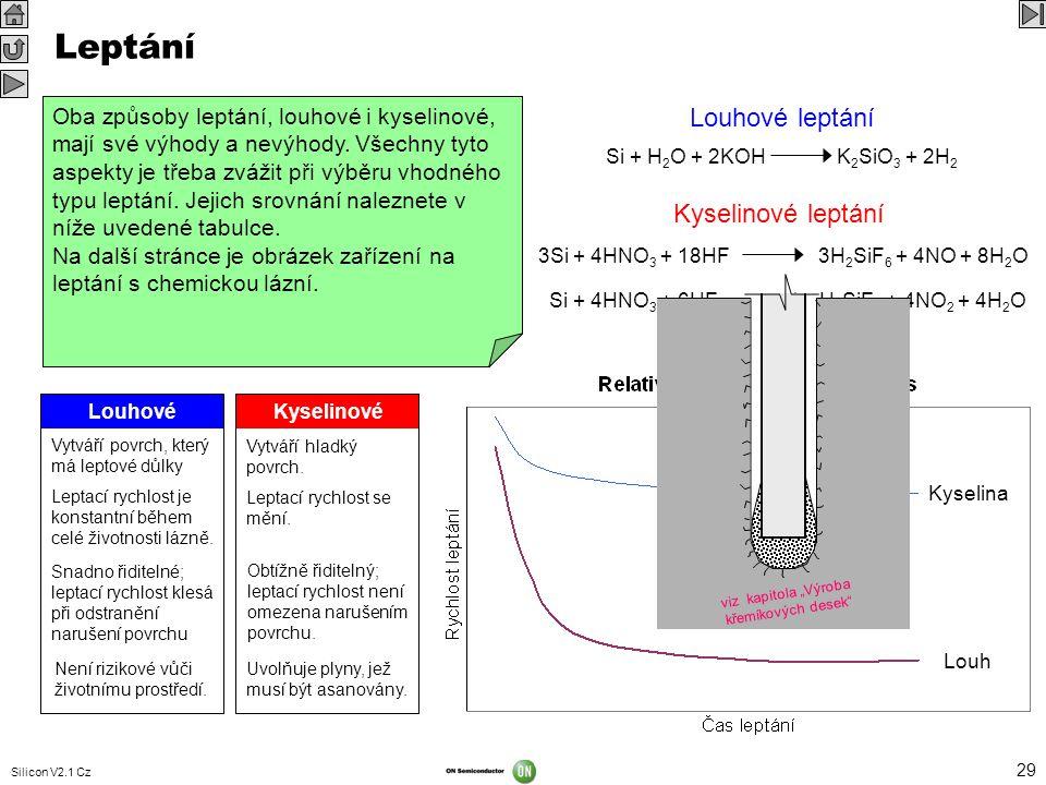 Silicon V2.1 Cz 29 Kyselina Louh Leptání Lapování sice umožní odstranit větší část narušeného povrchu desky, zanechá ale za sebou tenkou, stejnoměrně