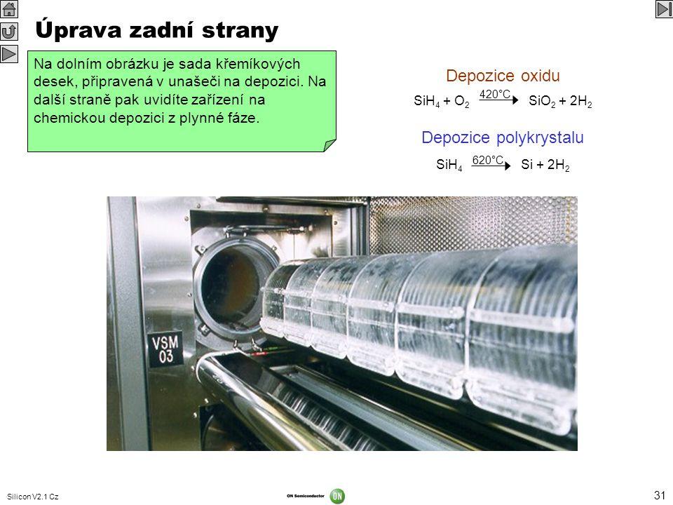 Silicon V2.1 Cz 31 Úprava zadní strany Zadní strana se upravuje u desek, které jsou vysoce dopované, a které v dalším procesu projdou přes vysoké tepl