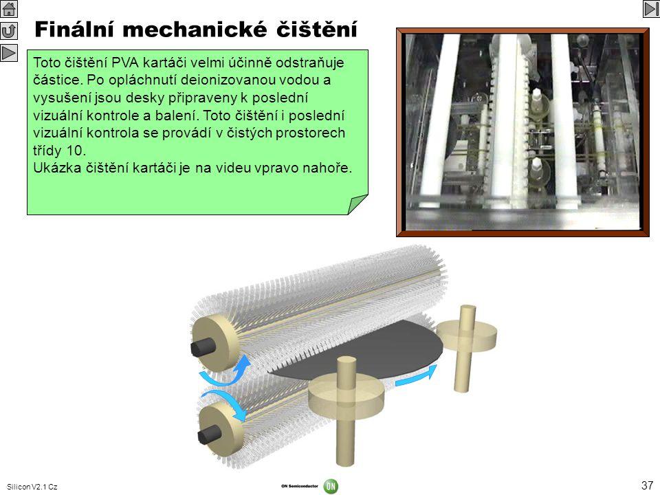 Silicon V2.1 Cz 37 VIDEO 352 x 288 Desky se chemicky čistí, aby byly odstraněny částice a kovové nečistoty. Po následné kontrole se ale na povrchu můž