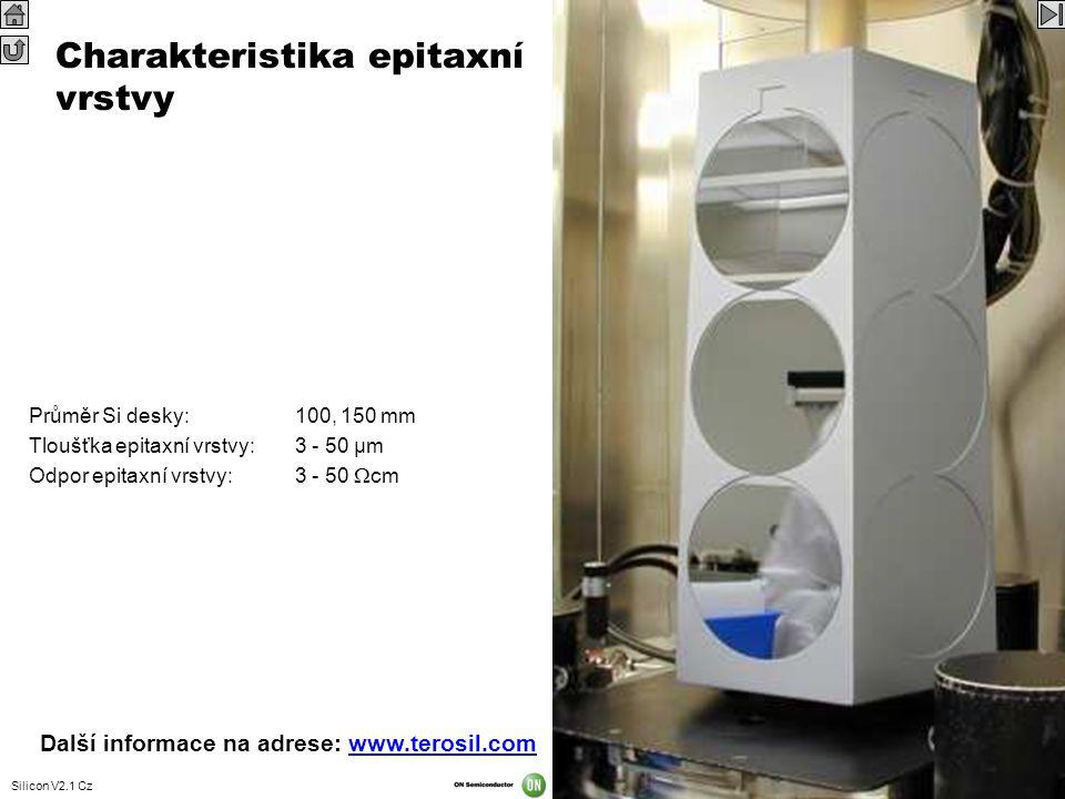 Silicon V2.1 Cz 42 Charakteristika epitaxní vrstvy Průměr Si desky:100, 150 mm Tloušťka epitaxní vrstvy:3 - 50 µm Odpor epitaxní vrstvy:3 - 50  cm Da