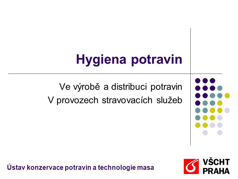 Hygiena potravin Ve výrobě a distribuci potravin V provozech stravovacích služeb Ústav konzervace potravin a technologie masa