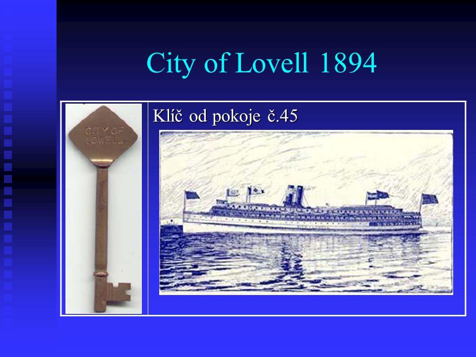 City of Lovell 1894 Klíč od pokoje č.45