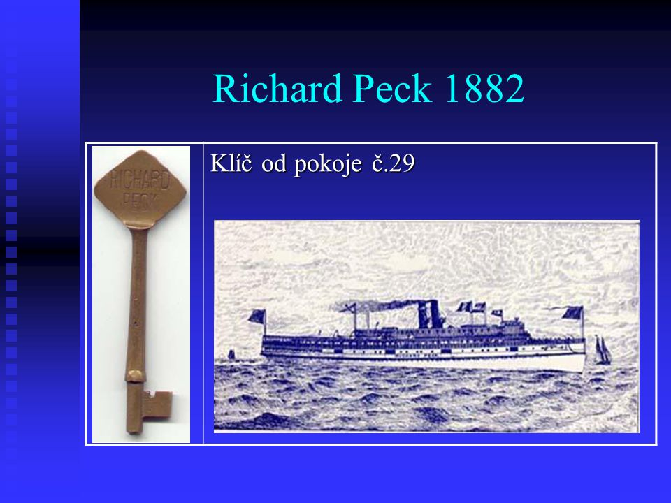 Richard Peck 1882 Klíč od pokoje č.29