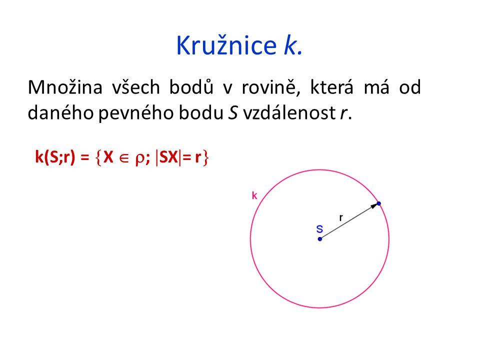 Kružnice k. Množina všech bodů v rovině, která má od daného pevného bodu S vzdálenost r. k(S;r) =  X   ;  SX  = r 