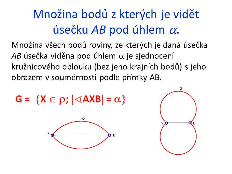 Množina bodů z kterých je vidět úsečku AB pod úhlem . Množina všech bodů roviny, ze kterých je daná úsečka AB úsečka viděna pod úhlem  je sjednocení
