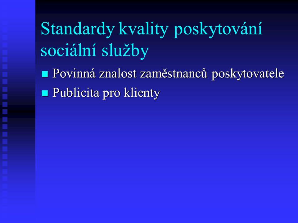 Standardy kvality poskytování sociální služby  Povinná znalost zaměstnanců poskytovatele  Publicita pro klienty
