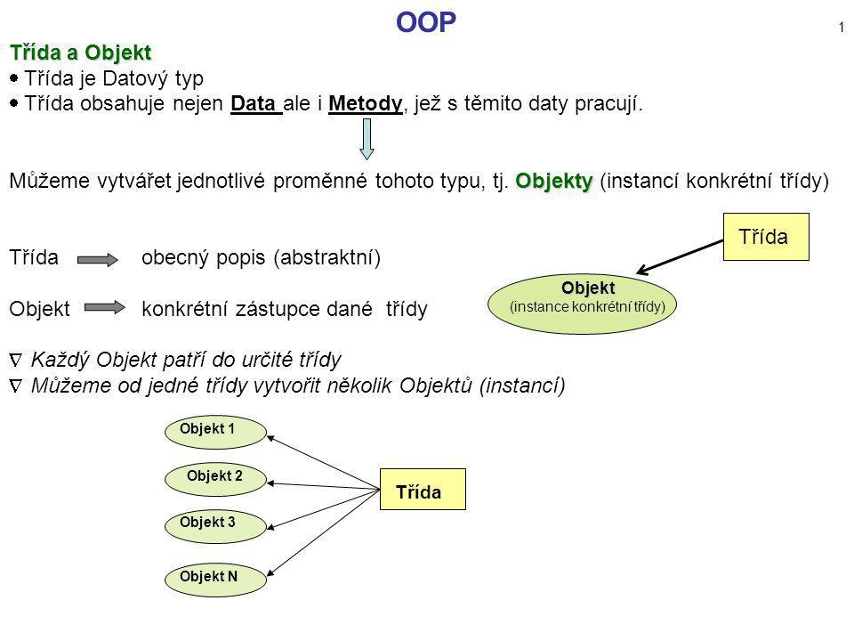 OOP 1 Třída a Objekt  Třída je Datový typ  Třída obsahuje nejen Data ale i Metody, jež s těmito daty pracují. Objekty Můžeme vytvářet jednotlivé pro