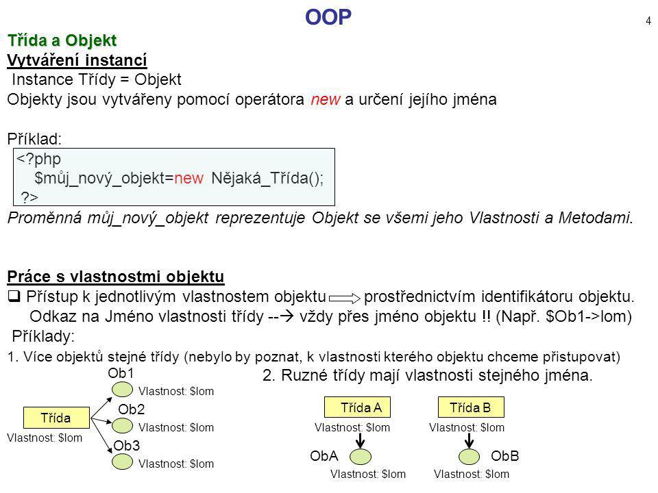 OOP 4 Třída a Objekt Vytváření instancí Instance Třídy = Objekt Objekty jsou vytvářeny pomocí operátora new a určení jejího jména Příklad: <?php $můj_