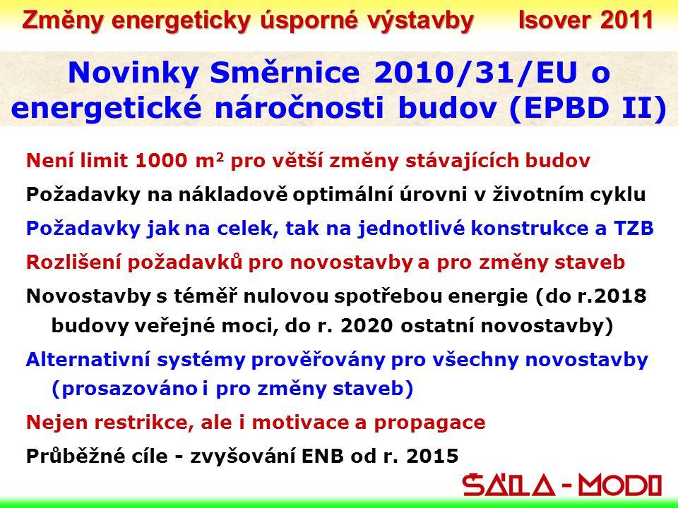 Novinky Směrnice 2010/31/EU o energetické náročnosti budov (EPBD II) Není limit 1000 m 2 pro větší změny stávajících budov Požadavky na nákladově optimální úrovni v životním cyklu Požadavky jak na celek, tak na jednotlivé konstrukce a TZB Rozlišení požadavků pro novostavby a pro změny staveb Novostavby s téměř nulovou spotřebou energie (do r.2018 budovy veřejné moci, do r.
