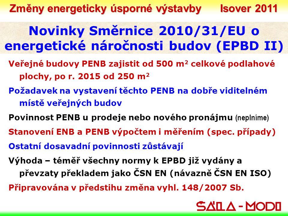Novinky Směrnice 2010/31/EU o energetické náročnosti budov (EPBD II) Veřejné budovy PENB zajistit od 500 m 2 celkové podlahové plochy, po r.