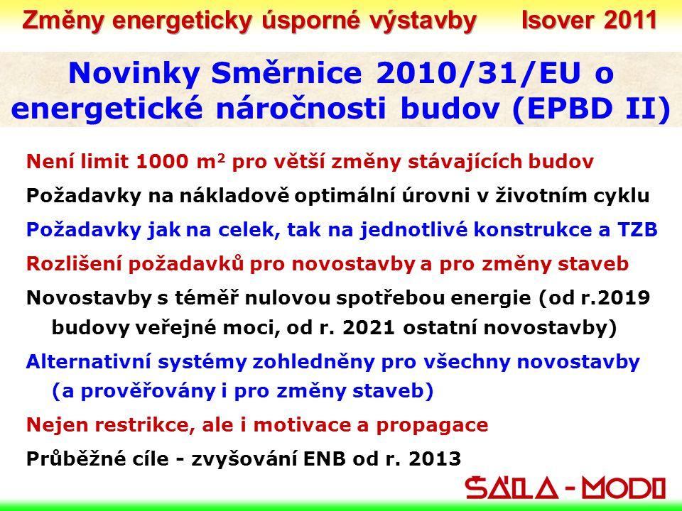 Novinky Směrnice 2010/31/EU o energetické náročnosti budov (EPBD II) Není limit 1000 m 2 pro větší změny stávajících budov Požadavky na nákladově optimální úrovni v životním cyklu Požadavky jak na celek, tak na jednotlivé konstrukce a TZB Rozlišení požadavků pro novostavby a pro změny staveb Novostavby s téměř nulovou spotřebou energie (od r.2019 budovy veřejné moci, od r.