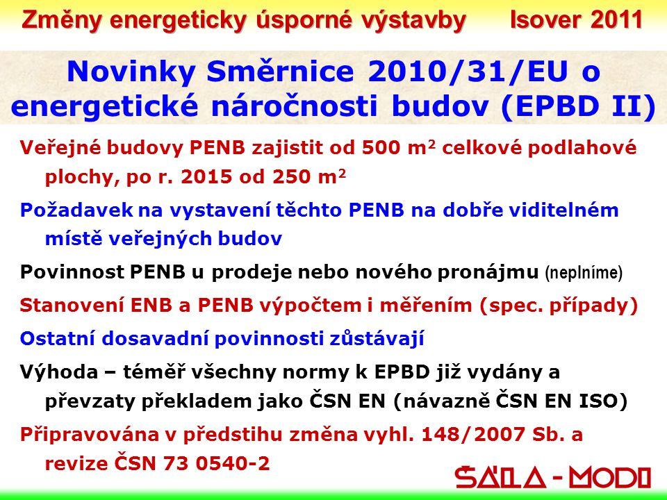 Novinky Směrnice 2010/31/EU o energetické náročnosti budov (EPBD II) Veřejné budovy PENB zajistit od 500 m 2 celkové podlahové plochy, po r. 2015 od 2