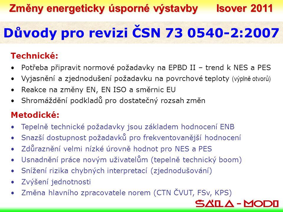 Důvody pro revizi ČSN 73 0540-2:2007 Technické: •Potřeba připravit normové požadavky na EPBD II – trend k NES a PES •Vyjasnění a zjednodušení požadavku na povrchové teploty (výplně otvorů) •Reakce na změny EN, EN ISO a směrnic EU •Shromáždění podkladů pro dostatečný rozsah změn Metodické: •Tepelně technické požadavky jsou základem hodnocení ENB •Snazší dostupnost požadavků pro frekventovanější hodnocení •Zdůraznění velmi nízké úrovně hodnot pro NES a PES •Usnadnění práce novým uživatelům (tepelně technický boom) •Snížení rizika chybných interpretací (zjednodušování) •Zvýšení jednotnosti •Změna hlavního zpracovatele norem (CTN ČVUT, FSv, KPS)