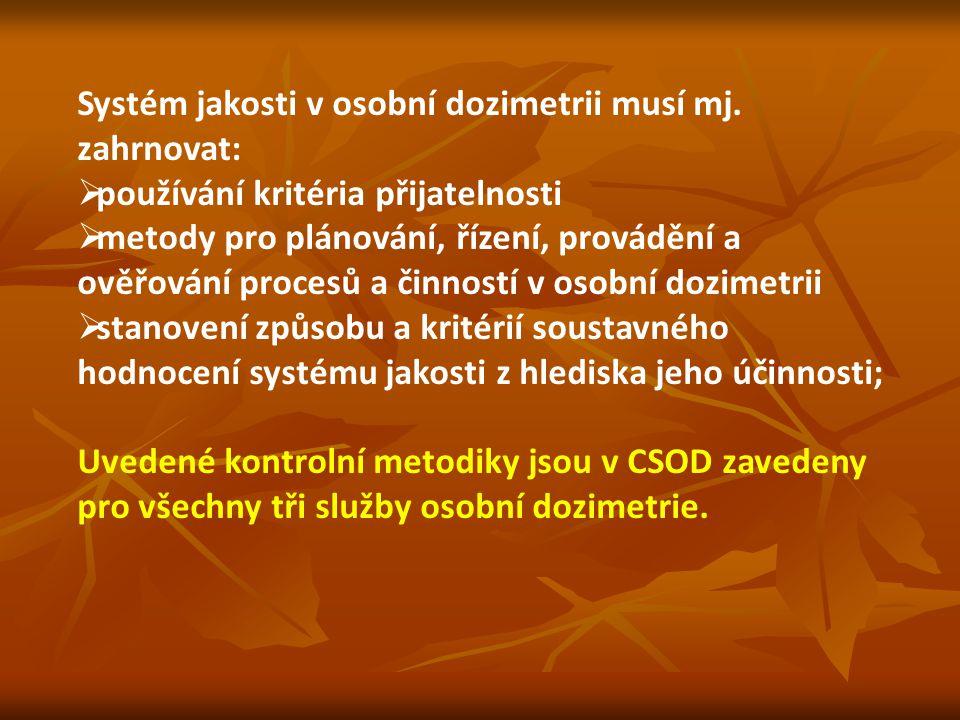 Systém jakosti v osobní dozimetrii musí mj. zahrnovat:  používání kritéria přijatelnosti  metody pro plánování, řízení, provádění a ověřování proces